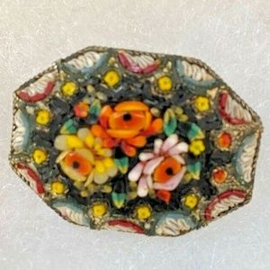 Antique Victorian micromosaic brooch Italy floral